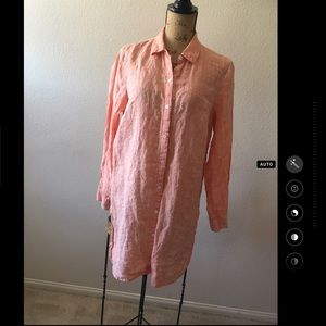 J. Jill Love Linen Coral Buttondown Shirt Dress M